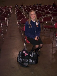 A younger Tyne waiting to be interviewed at the National FFA Convention. She was a National Ag Communications Proficiency Award finalist.