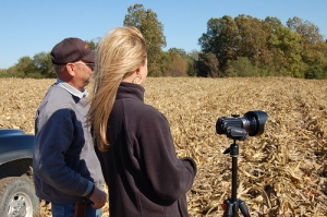 Tyne preparing for her video shoot during harvest in Missouri.