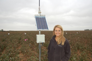 Tyne with a soil moisture probe in Plainview, TX