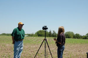 Tyne shooting a planting update earlier this year.